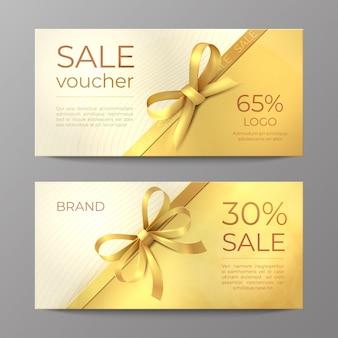 Luxe voucher kaart. gouden lintcertificaat, elegante feestcoupon, flyer voor kortingspromotie. realistisch