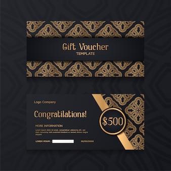 Luxe voucher sjabloon met gouden en zwarte achtergrond.