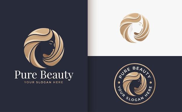 Luxe vrouw kapsalon gouden kleurovergang logo ontwerp