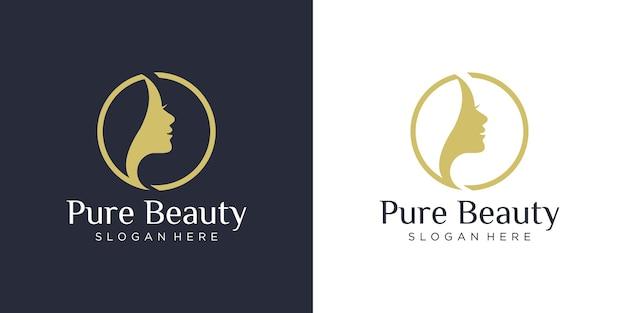 Luxe vrouw kapsalon logo ontwerp