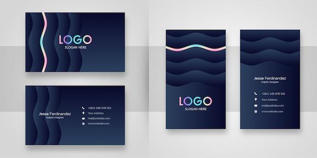 Luxe wave vorm met holografische lijn visitekaartje sjabloon