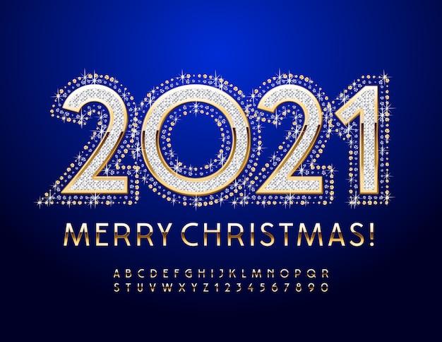 Luxe wenskaart vrolijk kerstfeest 2021! goud glanzend lettertype. elegante alfabetletters en cijfers ingesteld