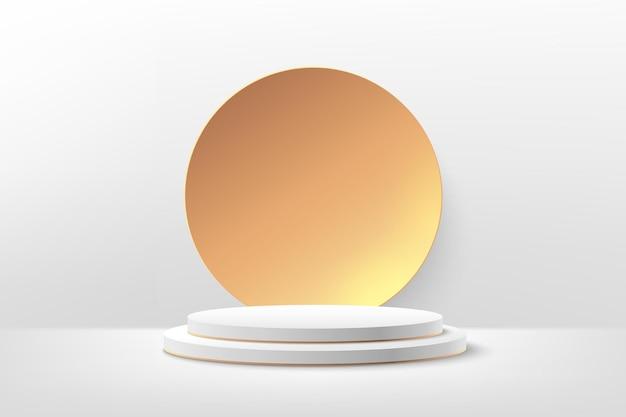 Luxe wit podium voor prijzen in modern met gouden geometrische achtergrond.