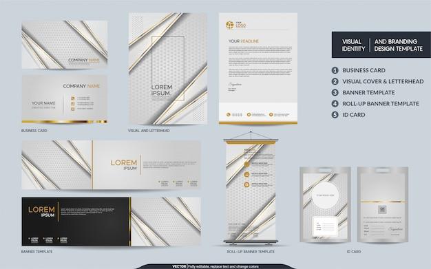 Luxe witgouden schrijfbehoeften mock-up set en visuele merkidentiteit met abstracte overlappende lagen