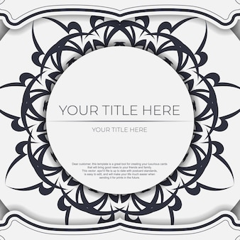 Luxe witte ansichtkaarten met vintage zwarte patronen. het ontwerp van de uitnodiging met mandala sieraad. Premium Vector