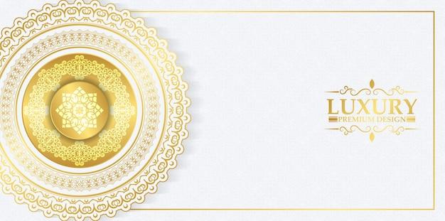 Luxe witte en gouden mandala achtergrond
