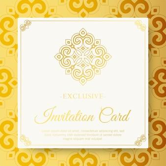 Luxe witte uitnodigingskaart in mandala-stijl