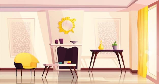 Luxe woonkamer interieur met gele fauteuils, tafel, open haard, een raam en een gordijn.