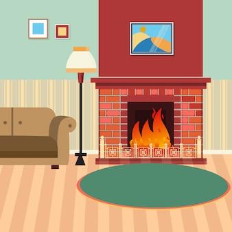 Luxe woonkamer interieur met open haard en bank