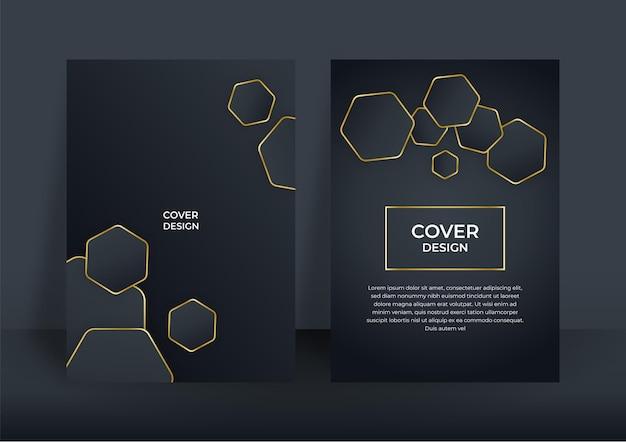 Luxe zakelijke dekking achtergrond, abstracte decoratie, gouden patroon, halftone verlopen, 3d-vectorillustratie. zwart gouden voorbladsjabloon, geometrische vormen, moderne minimale banner
