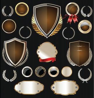 Luxe zilveren en zwarte retro badges