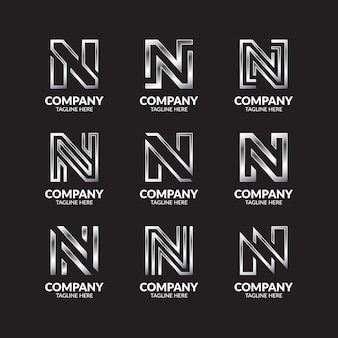 Luxe zilveren monogram letter n logo ontwerpcollectie