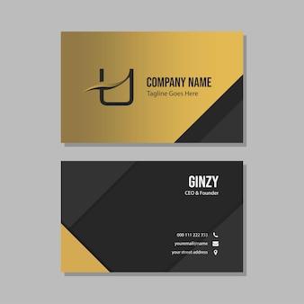 Luxe zwart en goud visitekaartje ontwerpsjabloon met eerste logo u