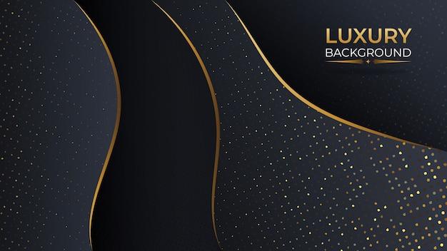 Luxe zwart goud abstracte achtergrond met overlappende laag