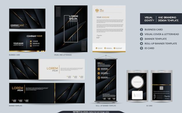 Luxe zwart goud briefpapier set en visuele merkidentiteit met abstracte overlappende lagen achtergrond