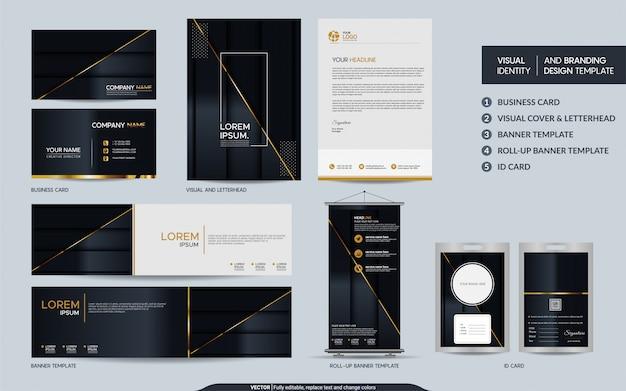 Luxe zwart goud briefpapier set en visuele merkidentiteit met abstracte overlappende lagen achtergrond.