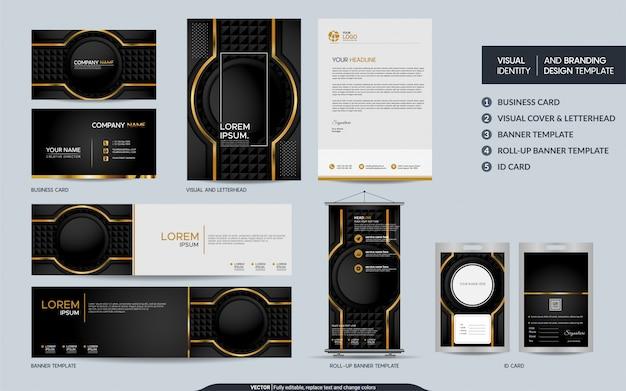 Luxe zwart goud briefpapier set