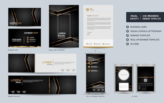 Luxe zwart goud briefpapier sjabloon set en visuele merkidentiteit met abstracte overlappende lagen.