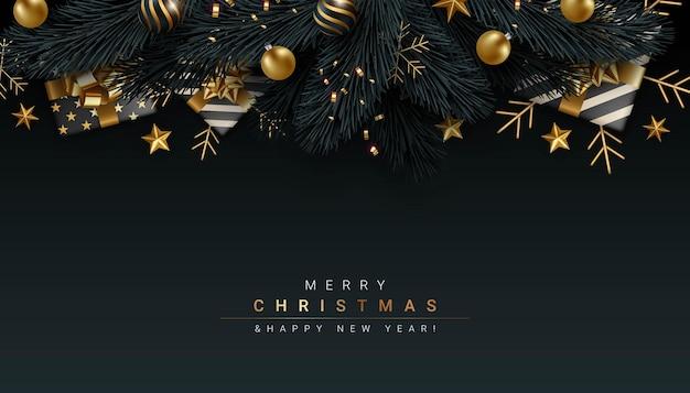 Luxe zwart vrolijk kerstfeest en gelukkig nieuwjaar achtergrondontwerp