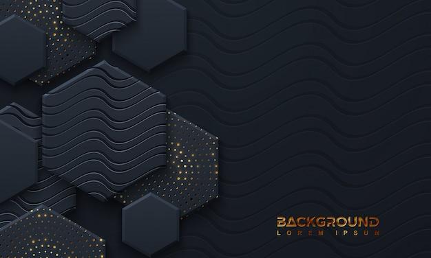 Luxe zwarte achtergrond met 3d-stijl.