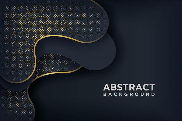 Luxe zwarte achtergrond met een combinatie gloeiende gouden stippen.