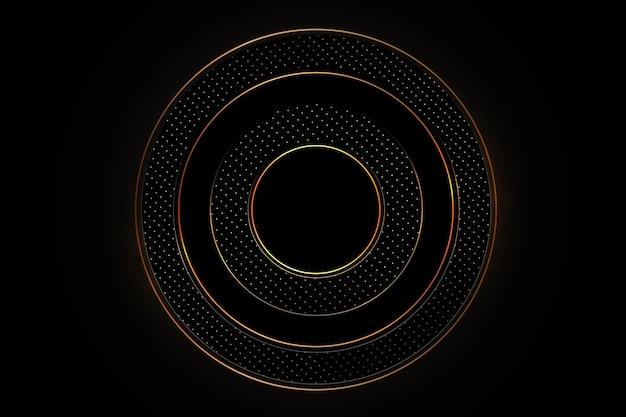 Luxe zwarte achtergrond met een combinatie van goud glanzend in 3d-stijl Premium Vector
