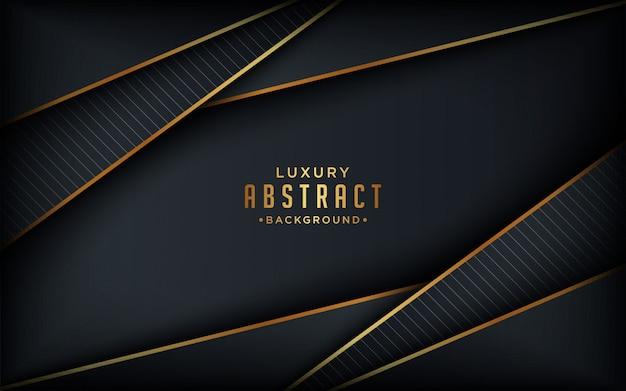 Luxe zwarte achtergrond met gouden lijnen element 3d-stijl.