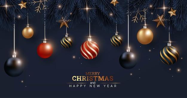 Luxe zwarte achtergrond prettige kerstdagen en gelukkig nieuwjaar illustratie
