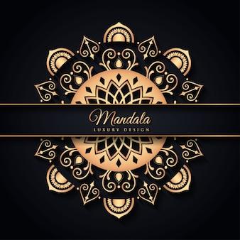Luxe zwarte en gouden mandala op zwarte achtergrond