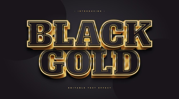 Luxe zwarte en gouden tekststijl met 3d en gloeiend effect. bewerkbaar tekststijleffect