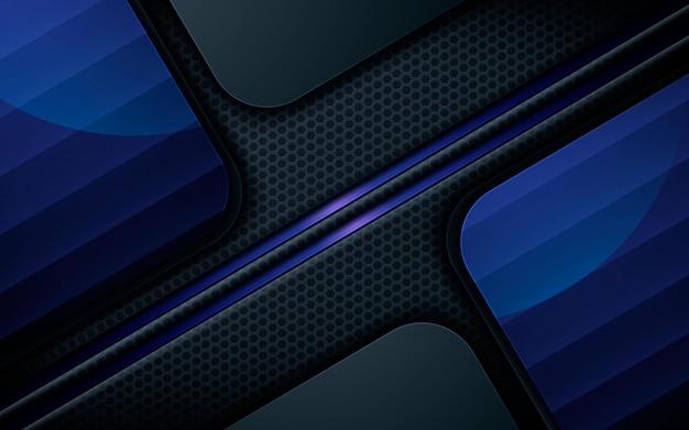 Luxe zwarte overlaplagen achtergrond met blauw licht