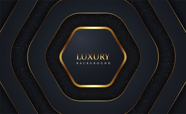 Luxe zwarte overlapping goud schittert achtergrond