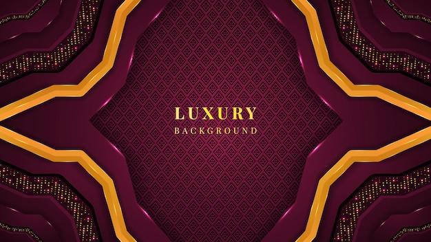 Luxeachtergrond met magenta en gouden kleurvormen, ornamenten, glitters en gloed.