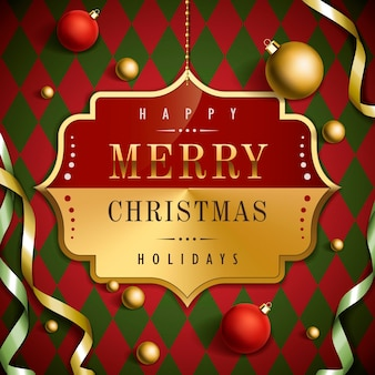 Luxueus vrolijk kerstmisontwerp als achtergrond