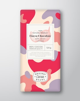 Lychee chocolade label abstracte vormen vector verpakking ontwerp lay-out