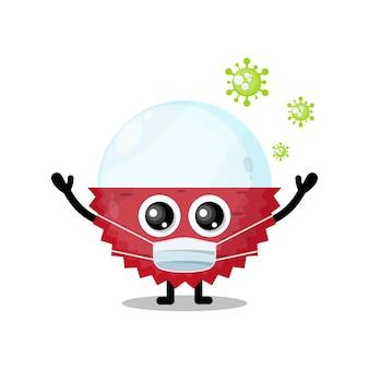 Lychee masker virus schattig karakter mascotte