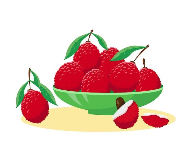 Lychee vers fruit in de plaat geïsoleerd op een witte achtergrond vectorillustratie