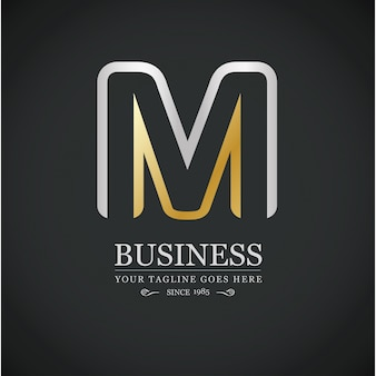 M brief bedrijfs logo template zilveren en gouden vector pictogram
