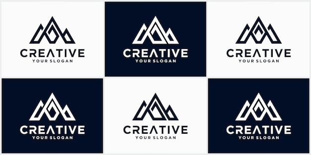 M brief logo ontwerp, creatieve moderne m brief met bergen stijl vector logo pictogram illustratie.