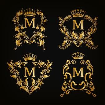M-brief logo set, victoriaanse stijl