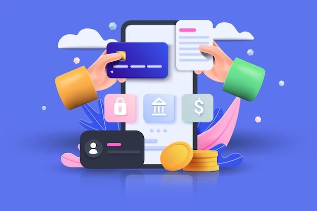 M-commerce 3d illustratie, online winkelen, online betaling en leveringsconcept met zwevende elementen. verkoopbanner, geschenkdoos, korting, sociale reclame. 3d vectorillustratie.