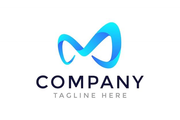 M eerste letter logo ontwerpsjabloon