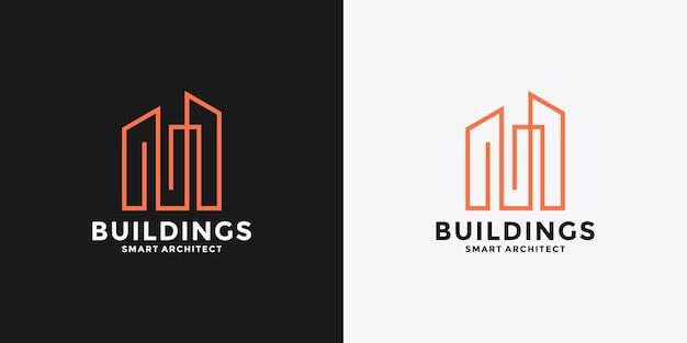 M gebouw logo ontwerp vector lijn