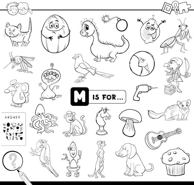 M is voor educatief spel kleurboek