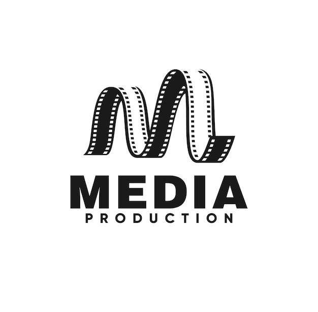 M logo vector letter m media logo ontwerp filmstrip