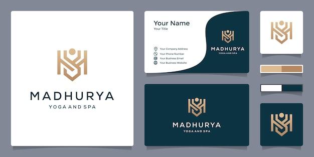M-logo voor yoga en spa met sjabloon voor visitekaartjes