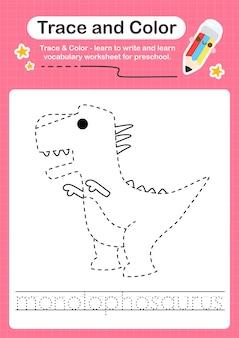 M overtrekwoord voor dinosaurussen en kleurwerkblad met het woord monolophosaurus