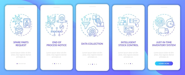 M2m-communicatieverscheidenheid aan boord van mobiele app-paginascherm met concepten. einde procesbericht, doorloop gegevensverzameling 5 stappen ui-sjabloon met rgb-kleurenillustraties