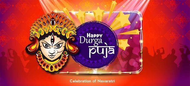 Maa durga in happy dussehra navratri-achtergrond design gevierd in hindoeïstische religie en festival