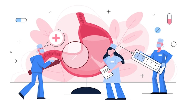 Maag behandeling concept. gezondheidsonderzoek, dokter bij een groot inwendig orgaan. idee van een gezonde levensstijl.
